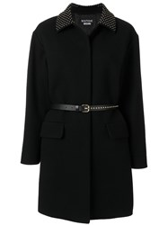 Boutique Moschino Studded Collar Belted Coat Black