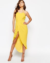 Tfnc Pleated Wrap Front Midi Dress With Belt Yellow