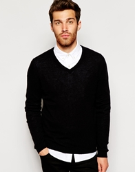 United Colors Of Benetton Cashmere Jumper With V Neck Black