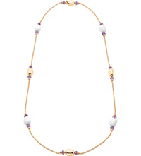 Bulgari Mediterranean Eden Sautoir 18Ct Pink Gold Necklace With White Ceramic And Amethyst Beads