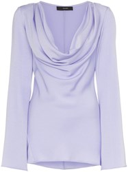 Ellery Arshile Cowl Neck And Fluted Sleeve Top Pink And Purple