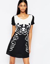 Pussycat London Dress In Mono Print Black