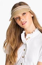 Helen Kaminski Women's 'Marina' Visor Brown Natural Nougat Stripe