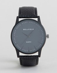Bellfield Black Watch With Round Black Dial