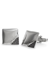 Ted Baker 'Corcuff' Corner Detail Cuff Links Silver Col