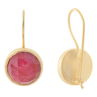 Pomegranate Vermeil Large Cupcake Drop Earrings Red Gold