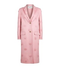 Valentino Flower Applique Wool Cashmere Long Coat Female Pink