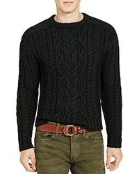 Polo Ralph Lauren Cable Knit Merino Wool Sweater Polo Black