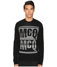 Mcq By Alexander Mcqueen Fair Isle Crew Neck Darkest Black Men's Long Sleeve Pullover