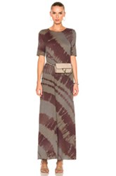 Raquel Allegra Drama Maxi Dress In Green Ombre And Tie Dye Red Green Ombre And Tie Dye Red