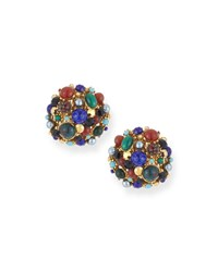 Jose And Maria Barrera Multicolor Round Clip On Earrings