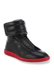 Maison Martin Margiela Future Hi Top Calf Leather Sneakers Black Cherry