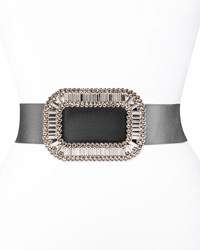 Roger Vivier Pilgrim Crystal Buckle Belt Black Clear