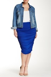 Vince Camuto Ruched Midi Tube Skirt Plus Size Blue
