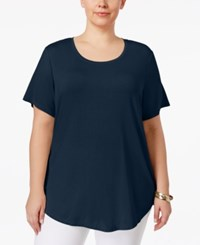 Jm Collection Plus Size Short Sleeve Top Only At Macy's Intrepid Blue