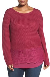 Lucky Brand Plus Size Women's Layer Look Lace Mix Sweater Raspberry Radiance