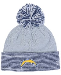 New Era Women's San Diego Chargers Snow Crown Redux Knit Hat Gray Blue