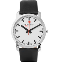 Mondaine Simply Elegant Stainless Steel And Leather Watch Black