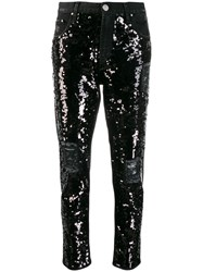 Don't Cry Sequin Slim Fit Jeans Black