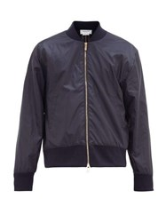 Thom Browne Tricolour Stripe Soft Shell Bomber Jacket Navy