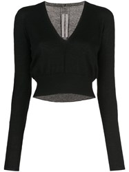 Rick Owens V Neck Cropped Jumper Black