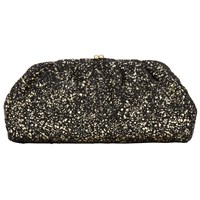 John Lewis Jules Metallic Splatter Clutch Bag Black