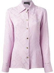 Jean Louis Scherrer Vintage Jacquard Shirt Pink And Purple