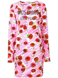 Moschino Rose Logo Fitted Dress Pink