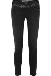 Givenchy Leather Trimmed Mid Rise Straight Leg Jeans Black