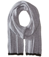 Michael Michael Kors Tipped Wide Rib Muffler Heather Charcoal Scarves Black