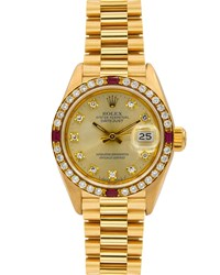 Rolex Pre Owned 18K 26Mm Datejust Watch W Diamonds And Rubies