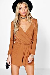 Boohoo Wrap Front Jersey Playsuit Tan