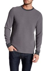 Micros Crew Neck Long Sleeve Waffle Knit Pullover Gray