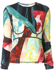 Thierry Mugler Graphic Print Top Multicolour