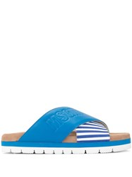Msgm Striped Cross Strap Slippers Blue