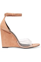 Alexander Wang Erika Suede And Pvc Wedge Sandals Nude