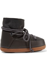 Ikkii Shearling Lined Leather And Suede Boots Gray