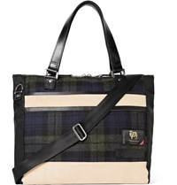 Master Piece Leather Trimmed Nylon And Checked Wool Tote Bag Black