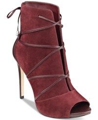 Guess Women's Ayana Peep Toe Lace Up Booties Women's Shoes Red
