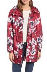 Joules 'S Right As Rain Packable Print Hooded Raincoat Dark Pink Posy