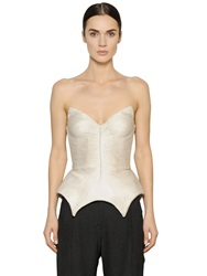 Maria Lucia Hohan Plisse Silk Tulle Bustier Top White
