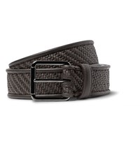 Ermenegildo Zegna Pelle Tessuta Leather Belt Brown