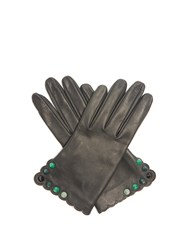 Fendi Studded Leather Gloves Green
