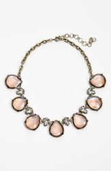 Robert Rose Tear Drop Collar Necklace Peach Brass Ox