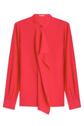 Agnona Ruffle Front Silk Blouse Red