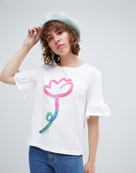 Paul Smith Ps By Painted Floral Frill T Shirt White