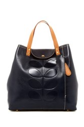 Orla Kiely Embossed Stem Leather Duffle Backpack Blue