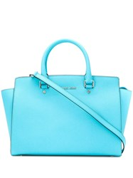 Michael Kors Logo Plaque Tote Bag Blue