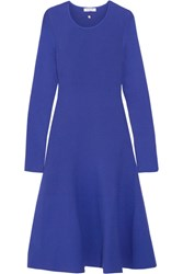 Thierry Mugler Fluted Stretch Knit Dress Bright Blue