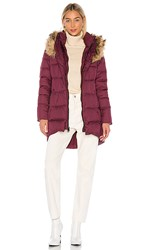 The North Face Dealio Down Parkina With Faux Fur Trim In Wine. Deep Garnet Red